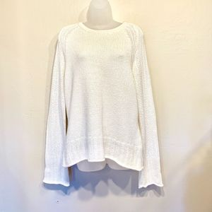 Calvin Klein Off White Knit Bell Sweater